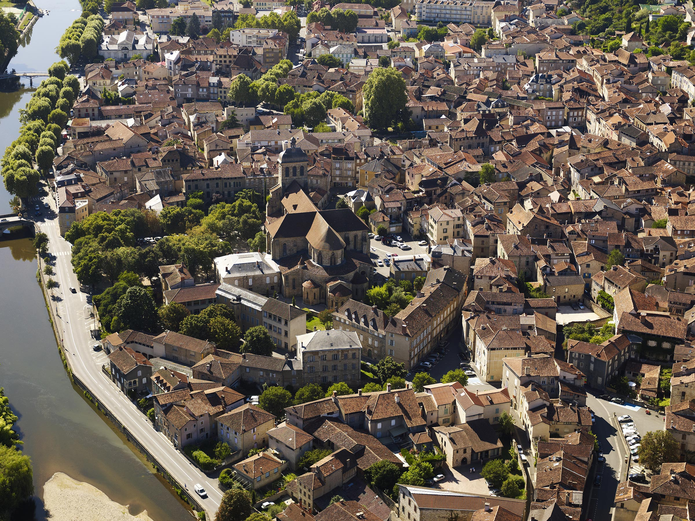 Ville de Figeac vue de haut